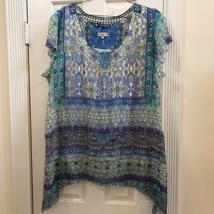 Sheer blue pattern tunic over tank plus size top